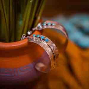 Sleeping Beauty Feather Hoop Earrings