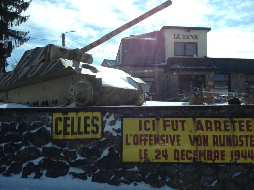 A German tank kept in memory of the furthest western advance by German 2 Panzer division in the Battle of the Bulge fought in the Ardennes around Celles.