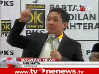 Cuplikan video pidato politik perdana Presiden PKS Muhammad Anis Matta di kantor DPP PKS, 1 Februari 2013. (Video Courtessy: tvonenews.tv)