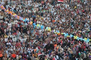 Para demonstran saat merayakan Hari Raya Idul Fitri Agustus yang lalu (inet)