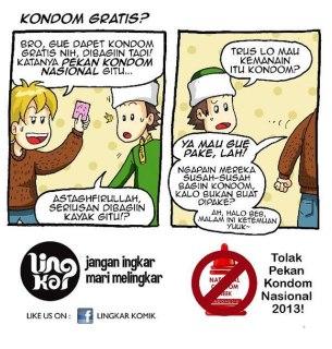 Komik yang menyindir dan menolak Pekan Kondom Nasional. (fb.com/LingkarKomik)