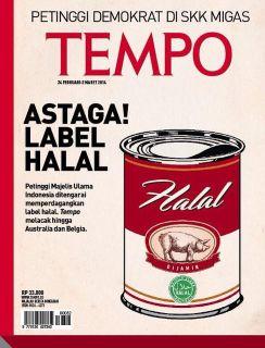 Cover Majalah Tempo bergambar Babi dan Label Halal MUI - Foto: chirpstory.com