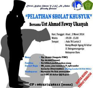 Flyer Pelatihan Shalat Khusyuk (Foto: YISC Al-Azhal)