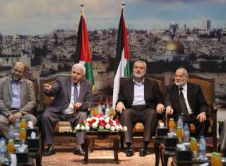 Delegasi PLO disambut Ismail Haniyah (falaqnews)