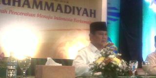 Prabowo Subianto saat menghadiri tanwir tahunan Muhammadiyah, Sabtu (24/5/2014) - (kompas.com)