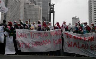 Jaringan Mahasiswa Indonesia (JARMASI) melakukan deklarasi dukungan kepada pasangan Prabowo-Hatta di Bundaran HI, Sabtu 5/7/14.  (okezone.com)