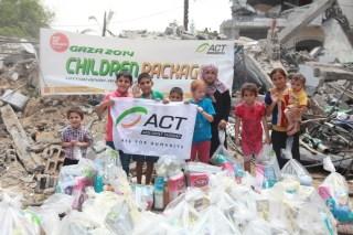 ACT kembali memberi bantuan pangan bagi warga Gaza. (lingga/act)