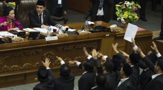 Suasana Sidang Paripurna Pemilihan Pimpinan DPR 2014-2019, Kamis (2/10/14).  (http://harnas.co)