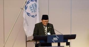 Anggota DPRRI, Hidayat Nur Wahid berpidato Delegasi RI dalam pembahasan mata acara khusus (Emergency Item) Sidang Inter-Parliamentary Union (IPU) ke-131 di Jenewa, Swiss, Selasa (14/10). (twitter @FPKSDPRRI)