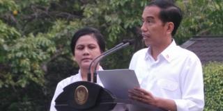 Presiden Joko Widodo saat mengumumkan susunan Kabinet di Istana Negara, Ahad (26/10/14).  (kompas.com)