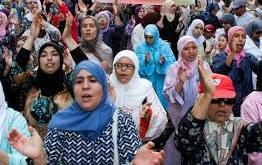 Aksi unjuk rasa oleh aktivis HAM Maroko di depan Parlemen (africanspotlight.com)