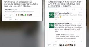"Jawaban Ulil Terhadap Berita ""Ulil: 90 Persen Alquran itu Pendapat Para Pengarang""  (https://twitter.com/ulil)"