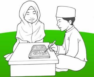 Ilustrasi - Anak belajar membaca huruf jawi (studiofrost.com)