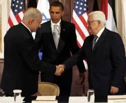Benyanyim Netanyahu, Barack Obama, dan Mahmud Abbas (knrp)
