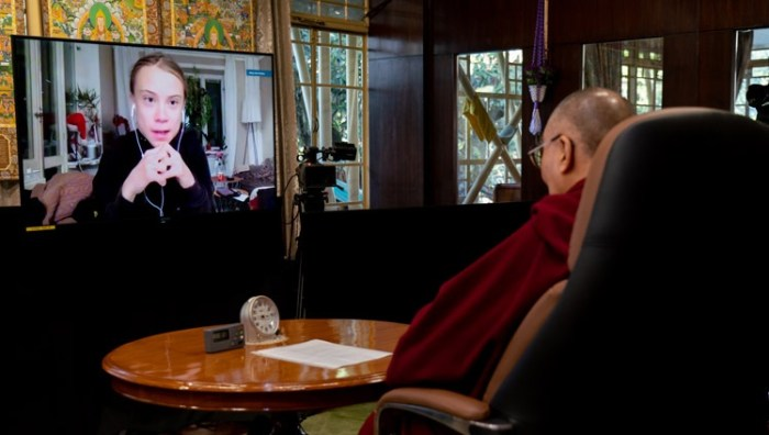 His Holiness the Dalai Lama at his residence in Dharamsala, India listening to Greta Thunberg during their online conversation on January 10, 2021. Photo by Ven Tenzin Jamphel