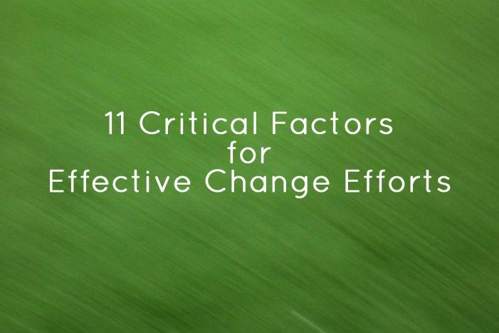 Effective Change Efforts