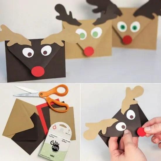 Sobres para postales de Navidad con forma de reno - Dale Detalles
