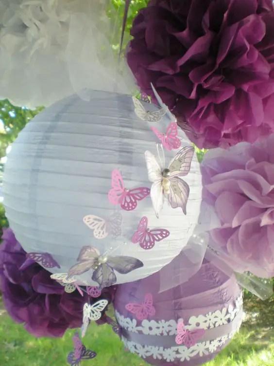 Fiesta tem tica mariposas dale detalles - Como hacer pompones para decorar fiestas ...
