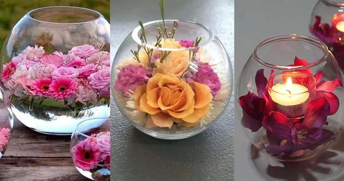 Centros de mesa con peceras dale detalles - Decorar mesa de centro de cristal ...