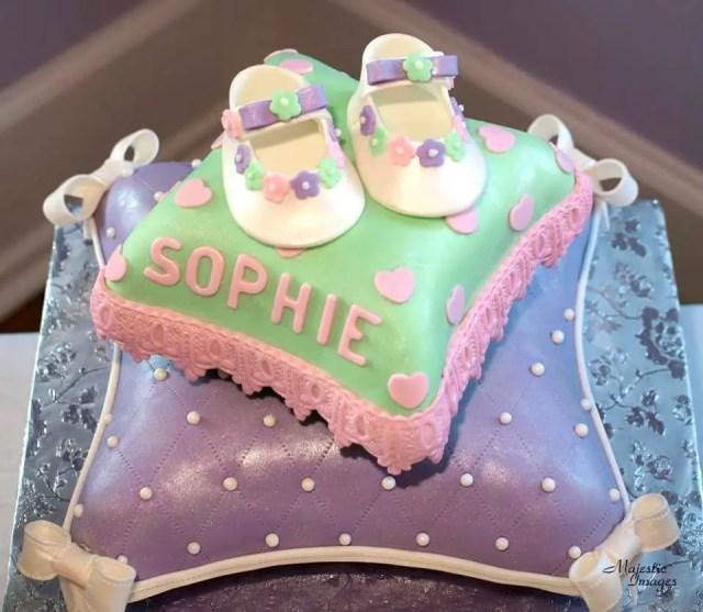 baby shower en tono purpura y verde