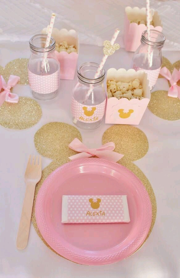 Minnie mouse en dorado y rosa dale detalles for Novedades para baby shower