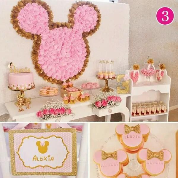 minnie mouse en dorado y rosa dale detalles. Black Bedroom Furniture Sets. Home Design Ideas