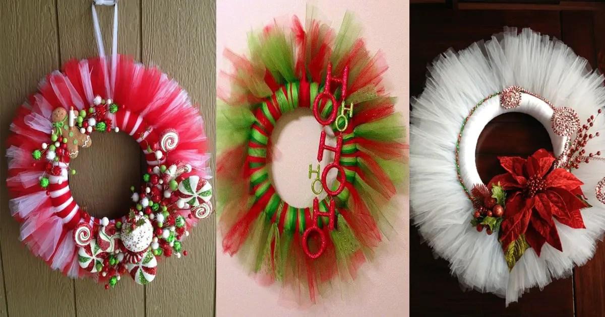 Coronas hechas con tul para Navidad Dale Detalles