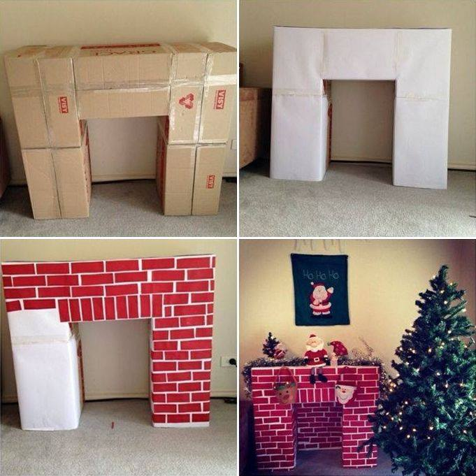 Cardboard Chimney For Christmas