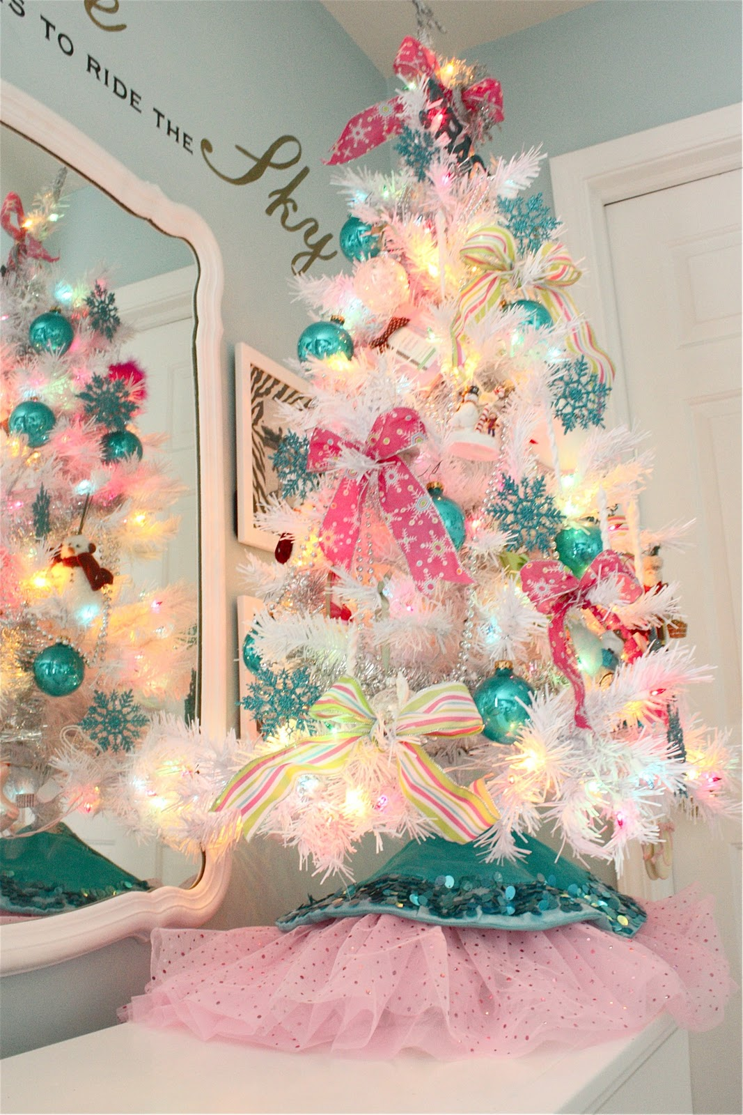 White Christmas Trees Decorated Pictures