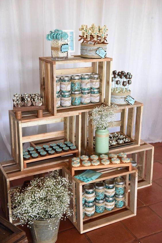 Mesas de dulces usando cajas de madera dale detalles - Mesas con cajas de madera ...
