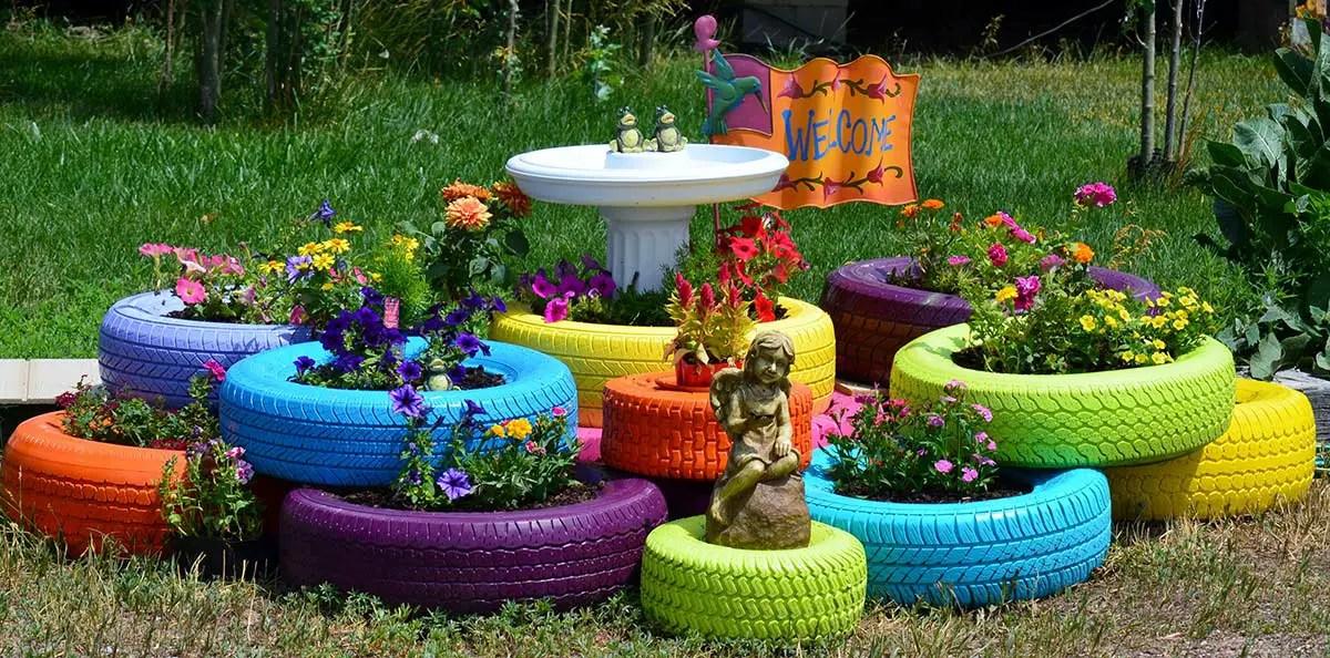Recicla tus llantas o neum ticos para darle vida a tu for Jardines reciclados