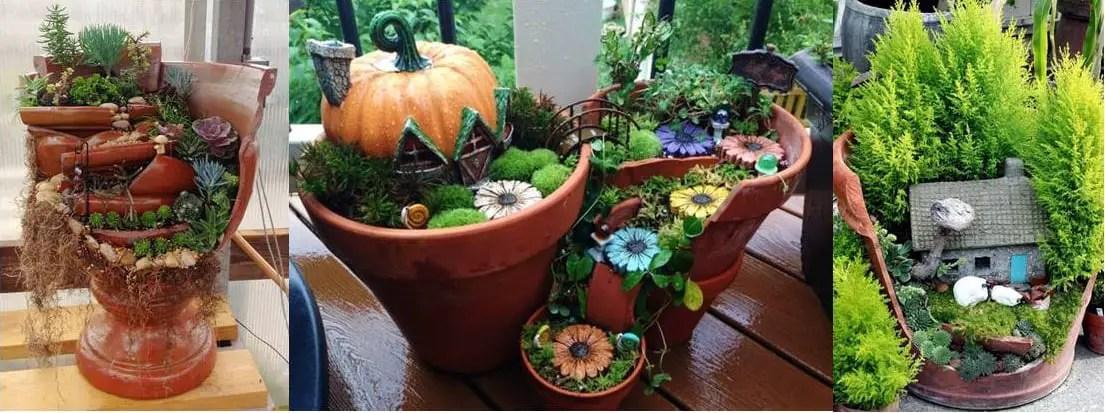 Crea hermosos mini jardines reutilizando macetas rotas - Macetas de jardin ...