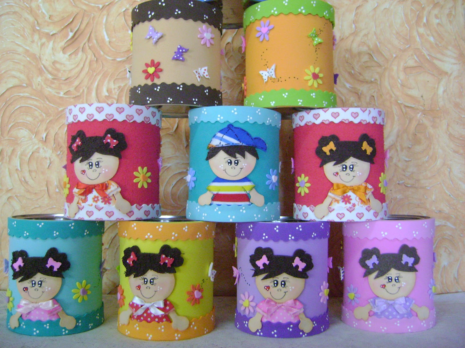 latas decoradas con foami o goma eva dale detalles