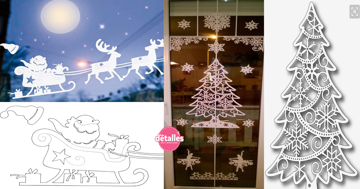 Paneles decorativos de papel para decorar ventanas en for Figuras de navidad para decorar