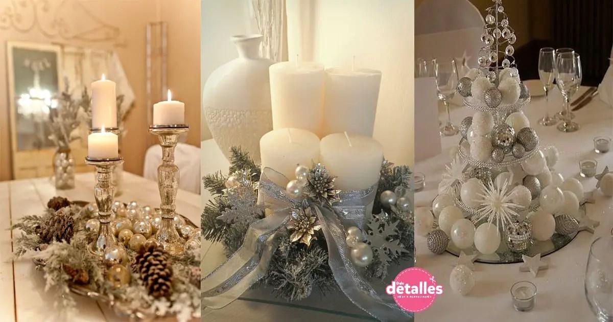 Centros de mesa navide os en color blanco y plata dale - Centros navidenos de mesa ...