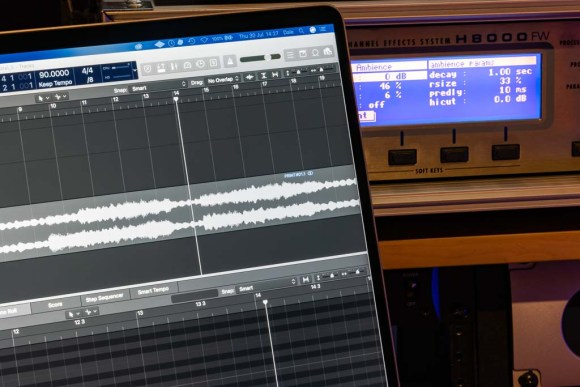 Macbook Pro showing Logic Pro X and Eventide H8000FW