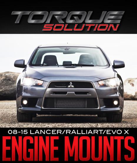 TORQUE SOLUTION BILLET ALUMINUM ENGINE MOUNTS: '08+ LANCER/RALLIART/EVOLUTION X