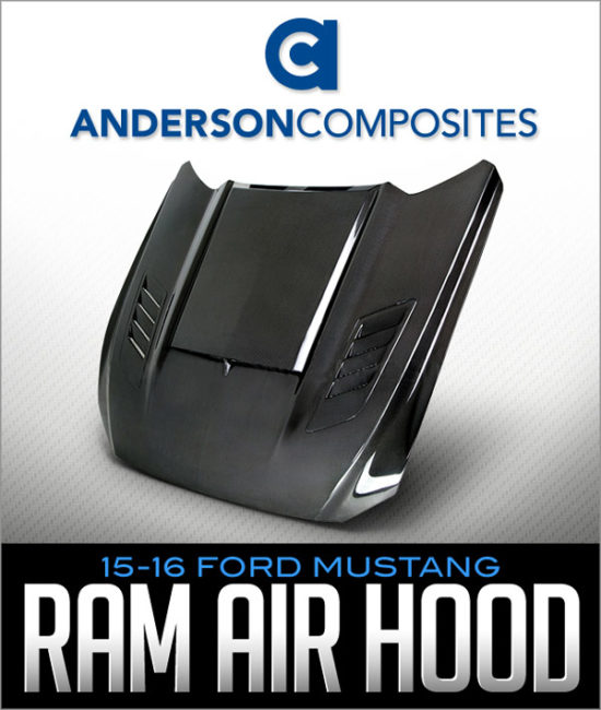 ANDERSON COMPOSITES CARBON FIBER RAM AIR HOOD: 2015-16 FORD MUSTANG