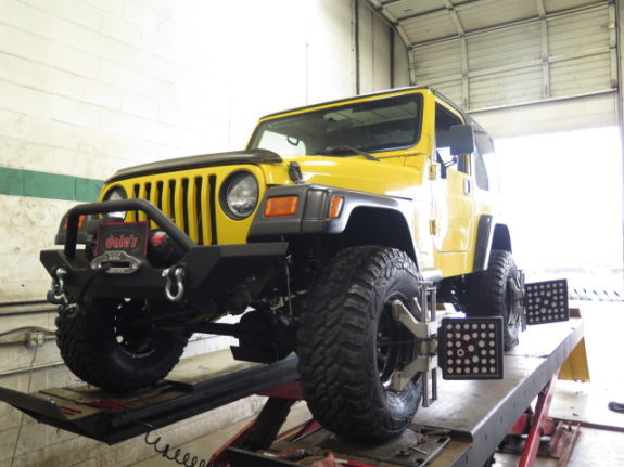 JK Jeep in for a Wheel Alignment after Suspension Installation
