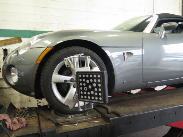 Pontiac Solstice in for ST coil-overs at Dales Auto Service