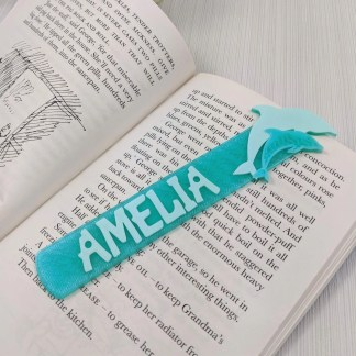 Personalised Dolphin bookmark - Pastel Green and Crystal green