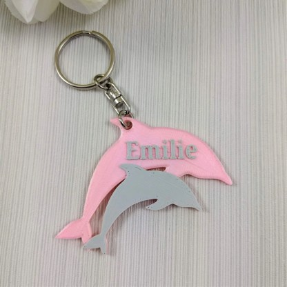 Personalised Dolphin Keyring in Pink and Grey