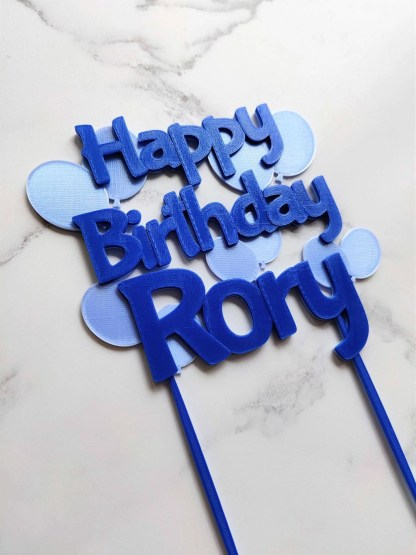 Balloon Cake topper in 2 shades of blue