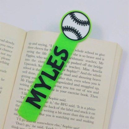 Personalised Baseball bookmark in bright green