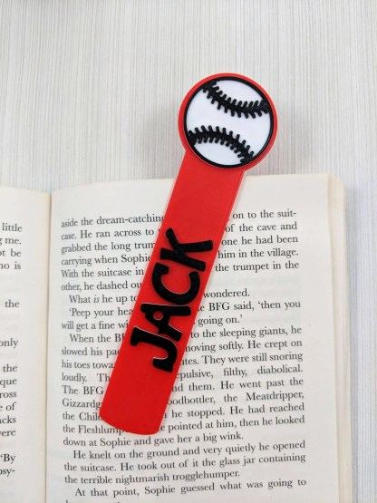 Personalised Baseball bookmark in red