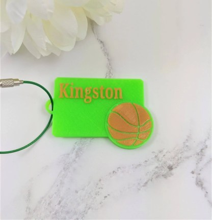 Personalised basketball luggage tag in green