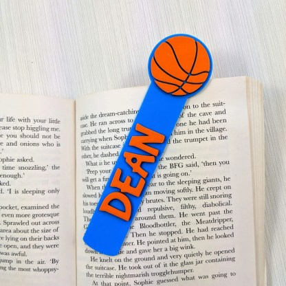 basketball themed bookmark in blue
