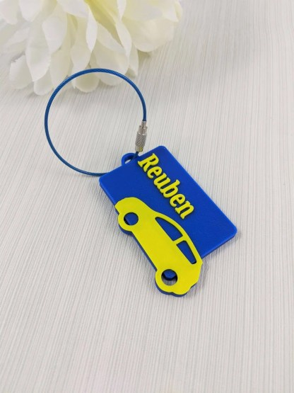 Car themed luggage tag in Blue and Yellow