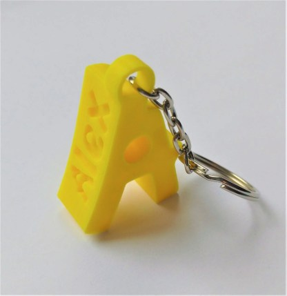 Chunky personalised keyring with name - yellow