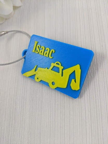 Personalised Luggage tag with digger picture - in blue and yellow